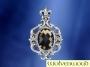 Gothische hanger met fleur de lys en geslepen rookkwarts (zilver