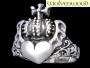 Hart met kroon ring (zilver)