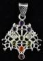 Kabbalah levensboom met edelsteen - verzilverd