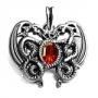 Keltische draken met rode steen (verzilverd brons)