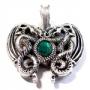 Keltische draken met groene steen (verzilverd brons)