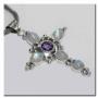 Kruishanger XL met parel en kleurstenen (zilver)