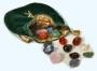 Luxe runenset Edelstenen in gevoerde fluwelen buidel
