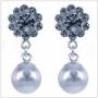 Oorbellen parel/kristal (zilver)