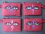 Pendeltasje/portemonneetje rood met Boeddha ogen
