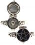 Pentagram gifring met skull (zilver met email)