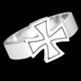 Ring gelijkarmig kruis (edelstaal)