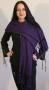 Shawls - Gebreide katoenen shawl - zwart/paars gestreept
